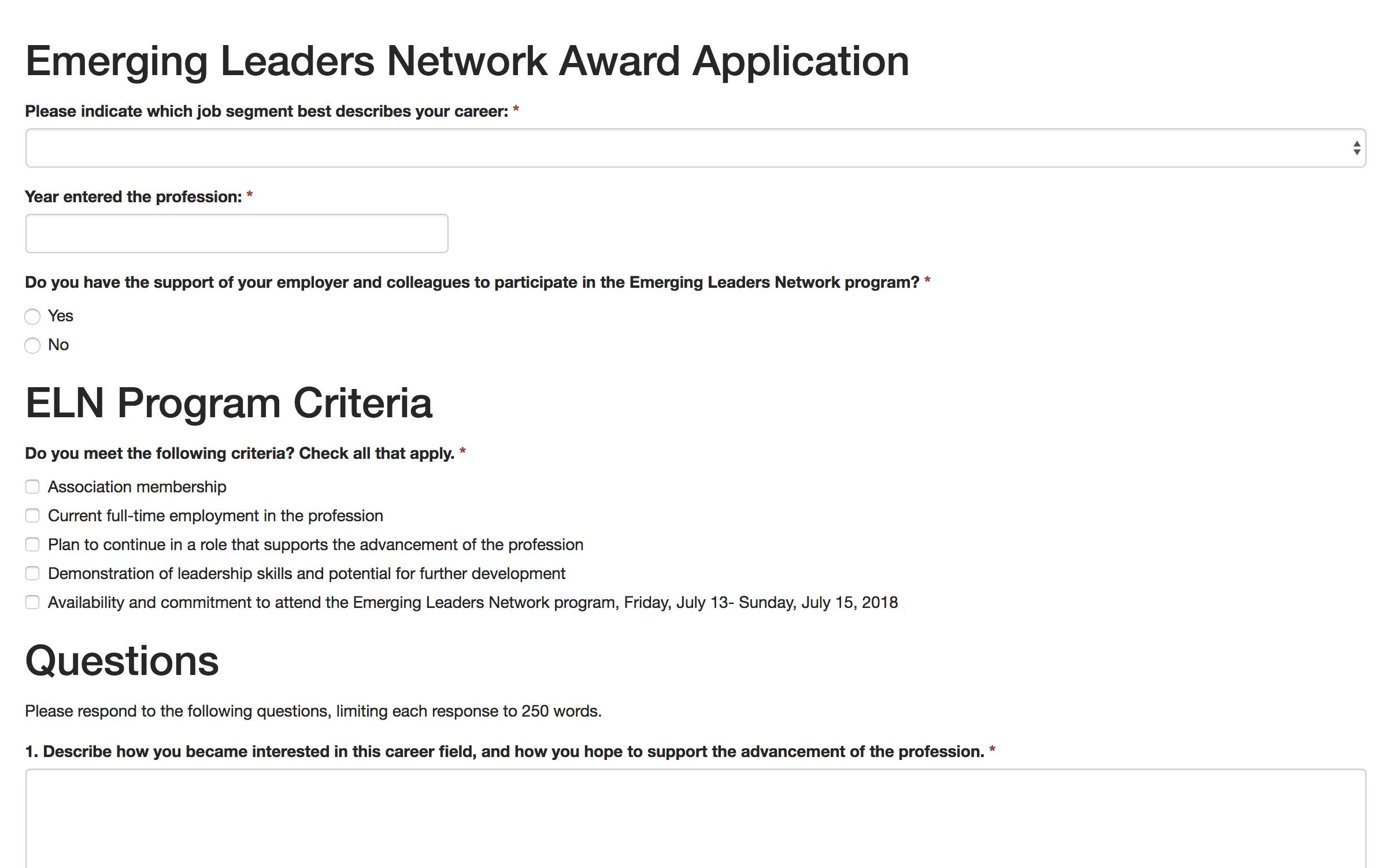 Award Application