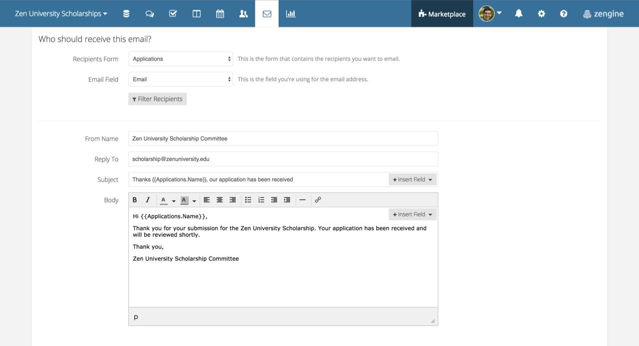Send emails via integrations